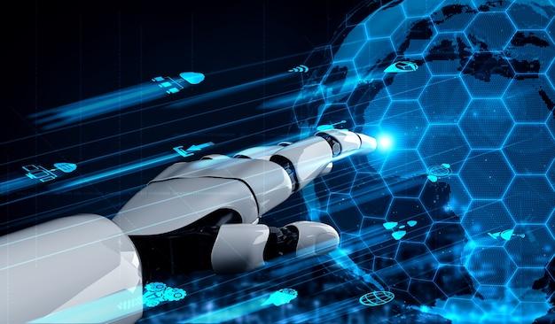 Renderização em 3d inteligência artificial pesquisa de ia de desenvolvimento de robôs e ciborgues para o futuro das pessoas que vivem