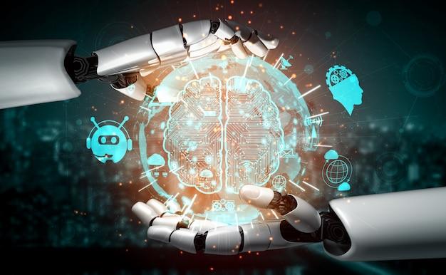 Renderização em 3d inteligência artificial pesquisa de ia de desenvolvimento de robôs e ciborgues para o futuro das pessoas