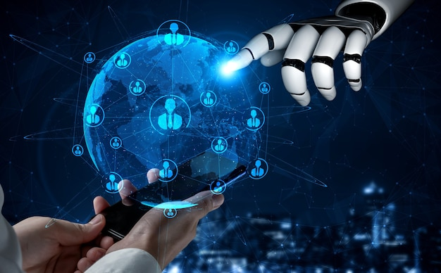 Renderização em 3d inteligência artificial pesquisa de ia de desenvolvimento de robôs e ciborgues