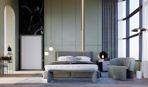 Renderização em 3d interior scene e mockup hotel com ranhuras na parede do teto alto do quarto com luz led