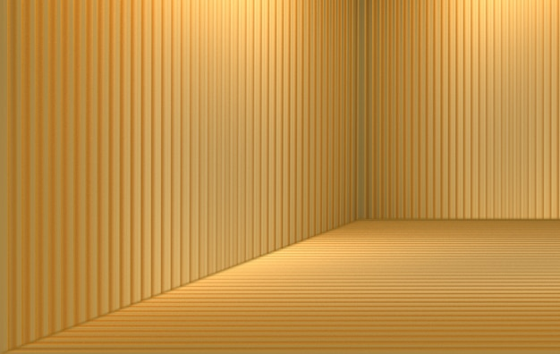 Renderização em 3d. luxo ouro painel barras padrão canto quarto parede textura.