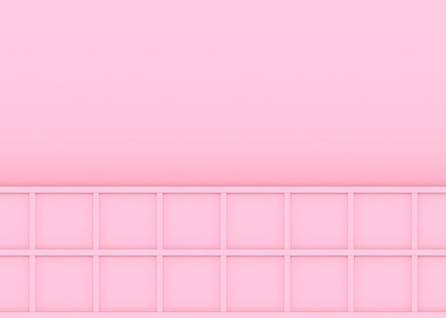 Renderização em 3d. moderno doce cor rosa madeira quadrada caixa quadrada placa projeto parede fundo.