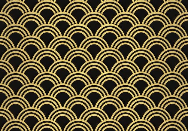 Renderização em 3d. moderno luxuoso sem costura círculo dourado anel padrão onda parede design plano de fundo.