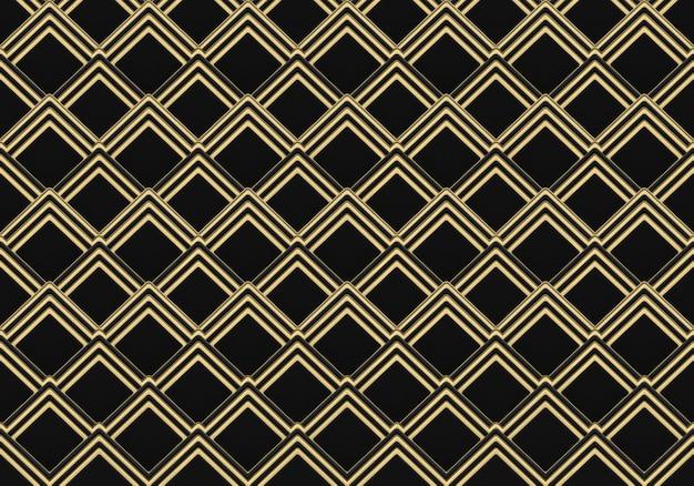 Renderização em 3d. moderno luxuoso sem costura grade quadrada dourada padrão parede design plano de fundo.
