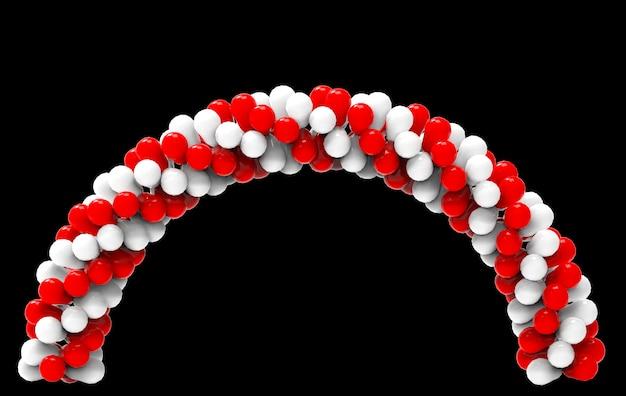 Renderização em 3d. os balões brancos e vermelhos alternativos curvam a porta com o trajeto de grampeamento isolado no preto.