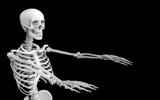 Renderização em 3d. ossos de esqueleto do crânio humano fantasma no preto. horror halloween.
