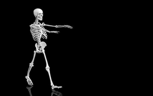 Renderização em 3d. ossos fantasma esqueleto crânio humano andando no preto. horror halloween.