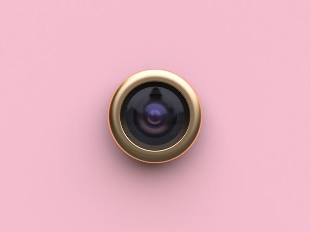 Renderização em 3d ouro círculo lente câmera rosa plano de fundo