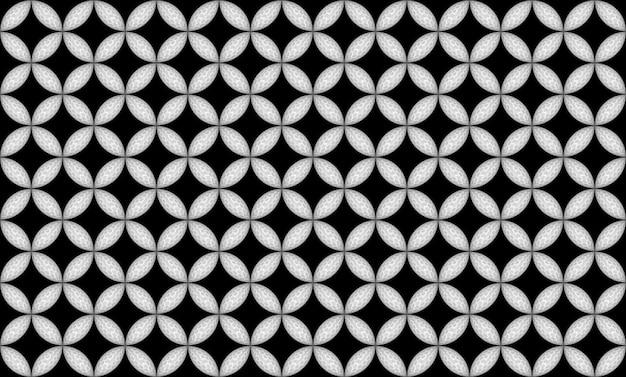 Renderização em 3d. oval moderno sem costura em tecido de design de padrão de forma de flor na parede preta.
