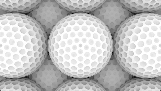 Renderização em 3d. parede branca da superfície da bola de golfe.