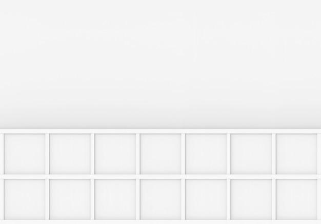Renderização em 3d. placa de caixa quadrada de madeira branca mínima moderna no fundo da parede cinza em branco.