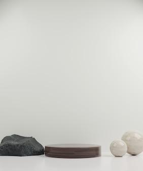Renderização em 3d pódio e esfera de maquete moderna de madeira com fundo branco