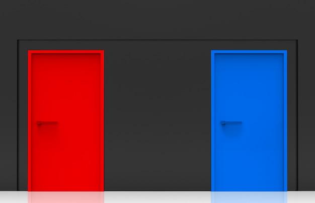 Renderização em 3d. portas azuis e vermelhas na parede de cimento preto. duas opções para escolher ou selecionar o futuro conceito.