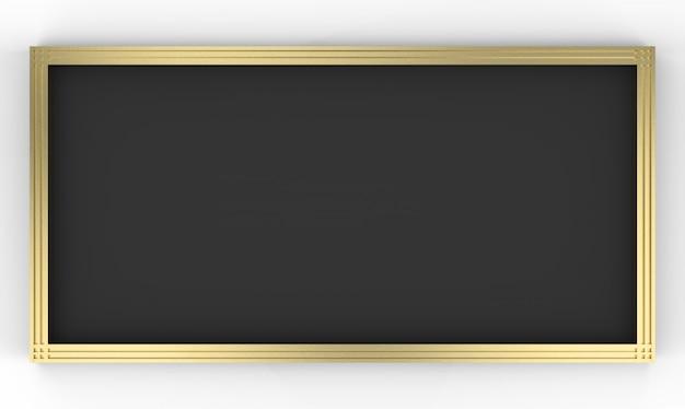 Renderização em 3d. retângulo preto vazio forma placa dourada moldura em fundo cinza.