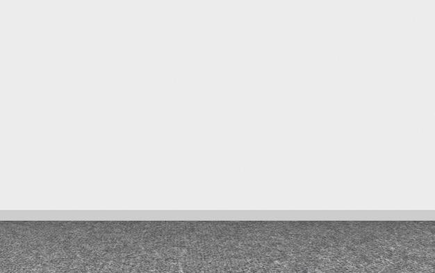 Renderização em 3d. revestimento de tapete escuro moderno com fundo de parede branca vazia.
