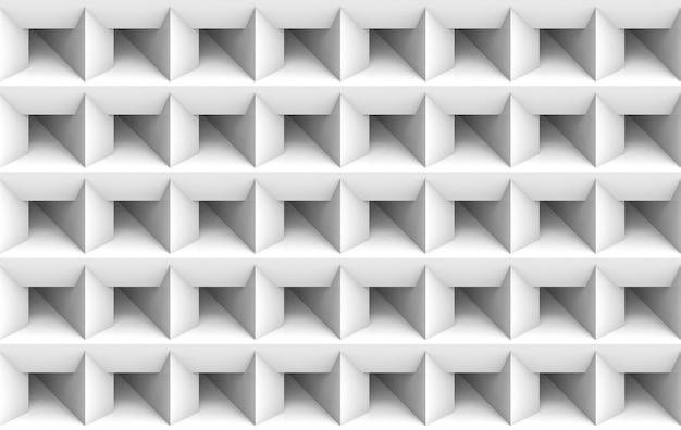 Renderização em 3d. sem costura minimalista quadrado branco grade arte parede plano de fundo.