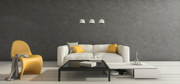 Renderização em 3d sotão sala mínima com boa mobília de design
