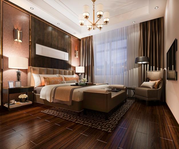 Renderização em 3d suíte de quarto de luxo bonito no hotel com tv à noite