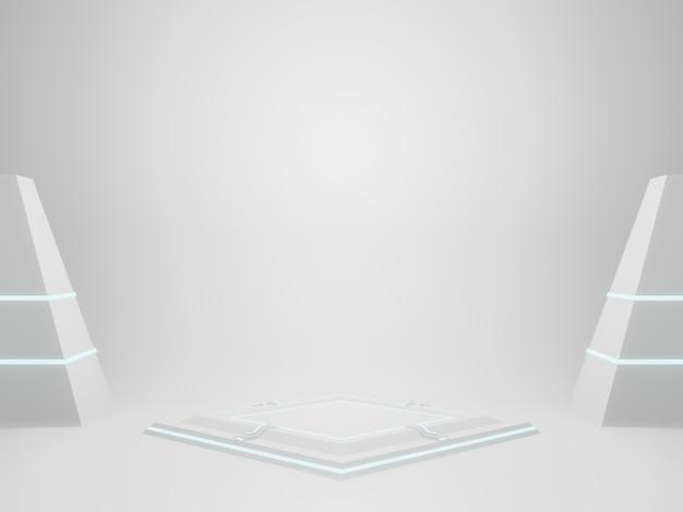Renderização em 3d suporte de produto sci fi geométrico branco
