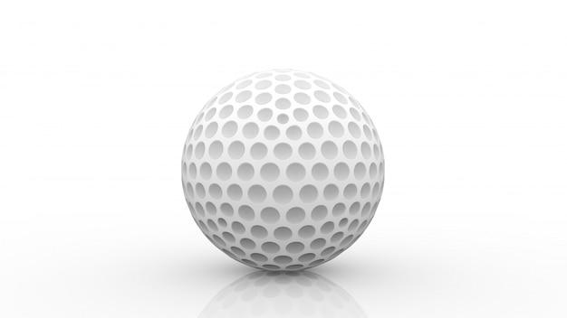 Renderização em 3d. uma nova bola de golfe branca com traçado de recorte isolado no branco.