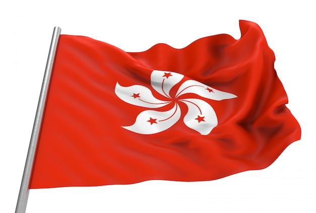 Renderização em 3d. vento ventoso bandeira nacional de hong kong com traçado de recorte isolado