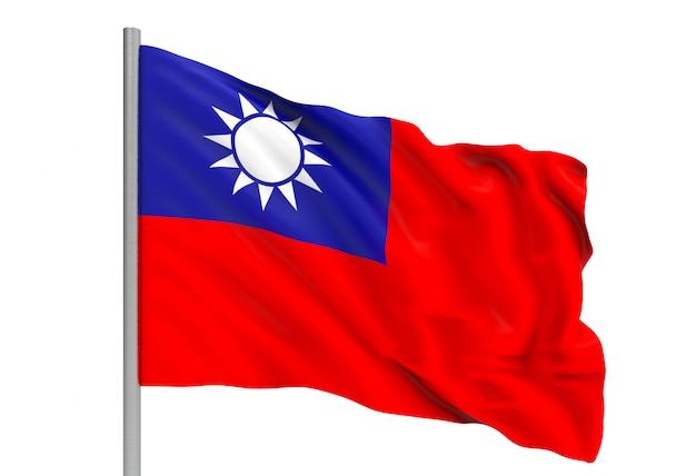 Renderização em 3d. ventoso fluindo bandeira nacional de taiwan com traçado de recorte