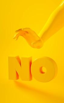 Renderização em 3d vertical da mão amarela sobre fundo amarelo com a palavra não