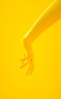 Renderização em 3d vertical da mão amarela sobre fundo amarelo
