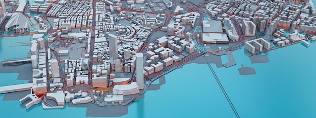 Renderização em 3d. vista para a cidade de baixo poli. conceitos de tecnologia urbana.