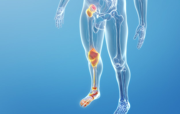 Renderização em cinema 4d de doenças dos ossos e articulações do pé humano