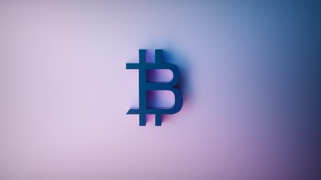 Renderização futurista em 3d de sinal de bitcoin em um fundo roxo