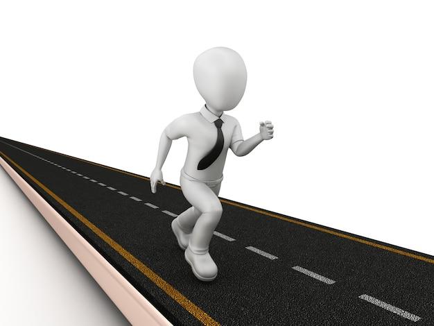 Renderização ilustração estrada com desenho animado pessoa correndo