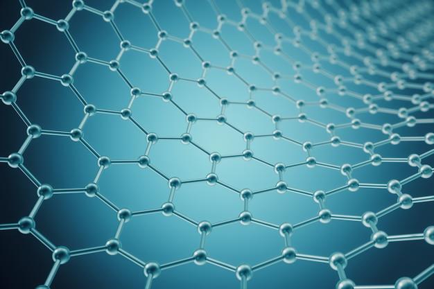 Renderização nanotecnologia hexagonal forma geométrica close-up