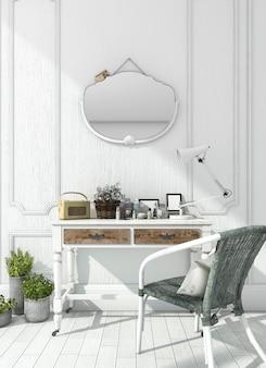 Renderização quarto branco clássico com mesa de maquiagem