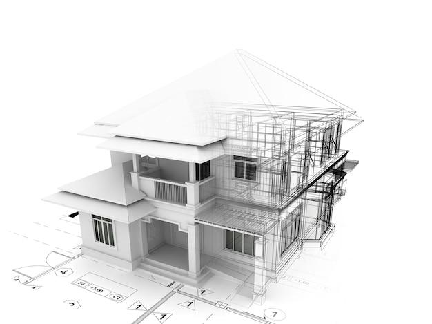 Renderização tridimensional da casa no plano