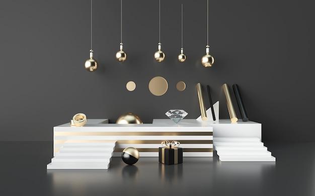 Renderizações 3d pretas abstratas com pódio listrado de ouro e caixa de presente para exibição de produto
