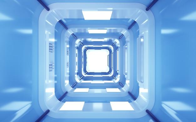 Renderizações do cinema 4d de um fundo de túnel quadrado com luz neon azul para uma maquete de exibição