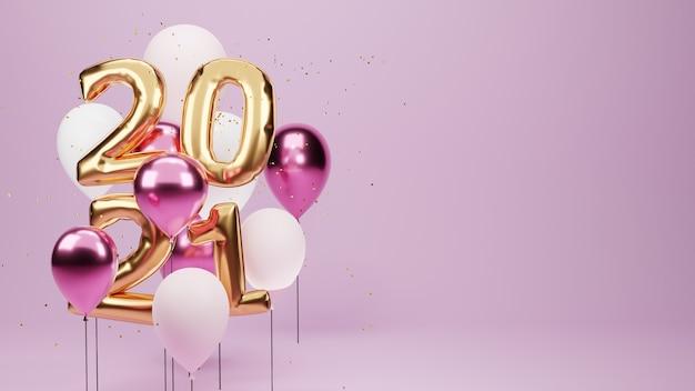 Renderizado 3d. balões dourados 2021 e partículas douradas. sinal de aniversário para o ano novo.