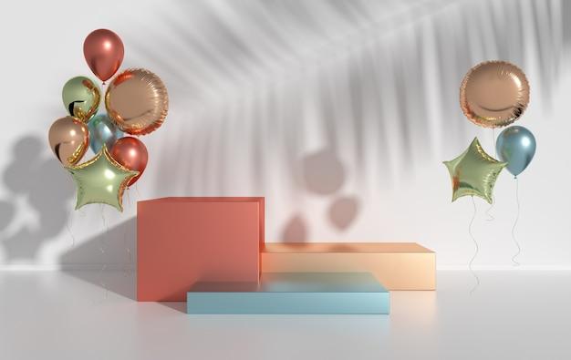 Renderizado colorido balão de papel alumínio pódio para apresentação de produto