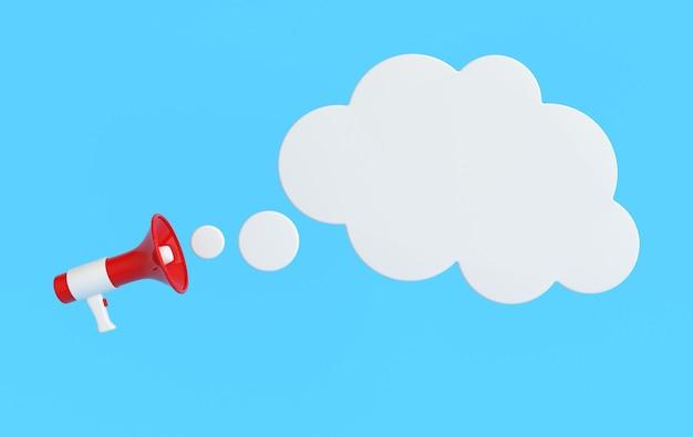 Renderizando alto-falante megafone nuvem bolha