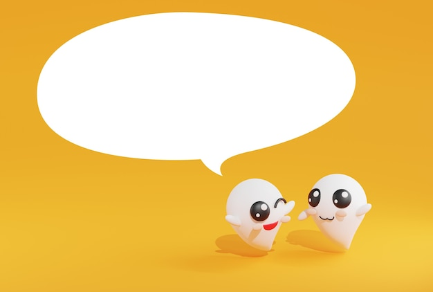 Renderizando fantasma falando fantasma em fundo amarelo.