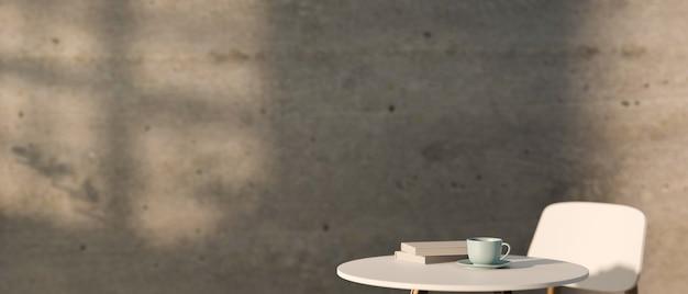 Renderizando mesa redonda de café branco com livros de copos e cadeira na parede de concreto