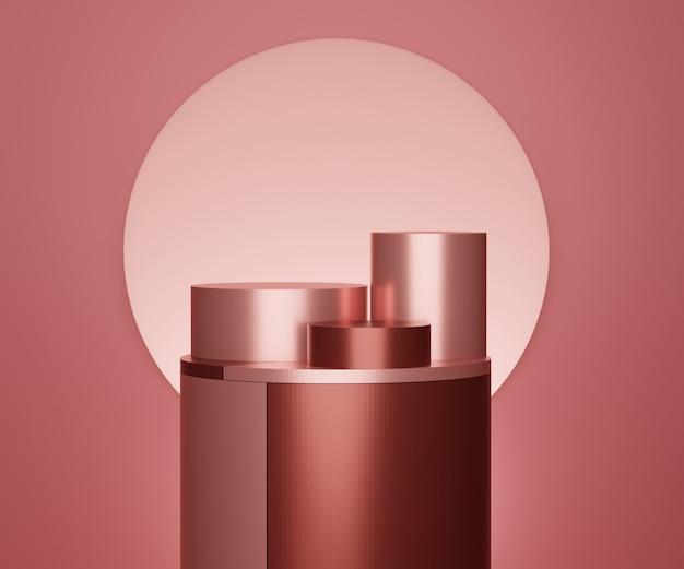 Renderizar cena da cena do pódio de metal vermelho para exibir produtos e publicidade cosmética