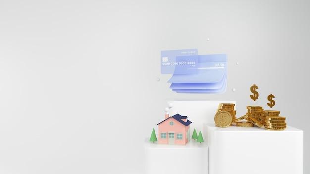 Renderizar dinheiro em casa, moedas de ouro e cartão de crédito em branco