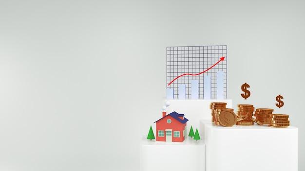 Renderizar dinheiro para casa e moedas de ouro e gráfico de ações
