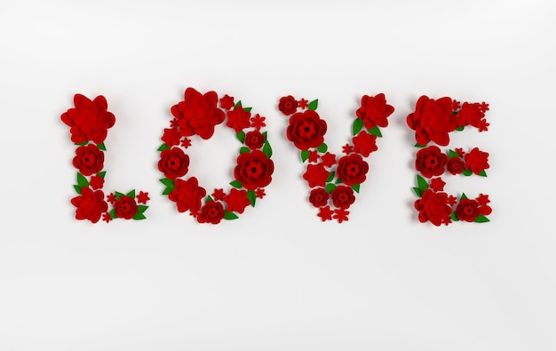 Renderizar o texto amor feito de flores e folhas de papel
