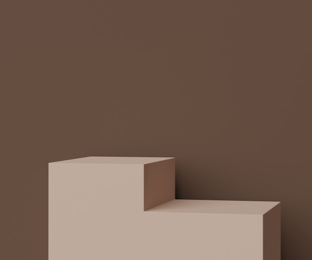 Renderize a cena da cena mínima no pódio da caixa para exibir produtos e publicidade cosmética