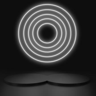 Renderize linhas geométricas e brilhantes, túnel, luzes de néon, realidade virtual, resumo com cenas de pódio pretas em néon preto e branco.