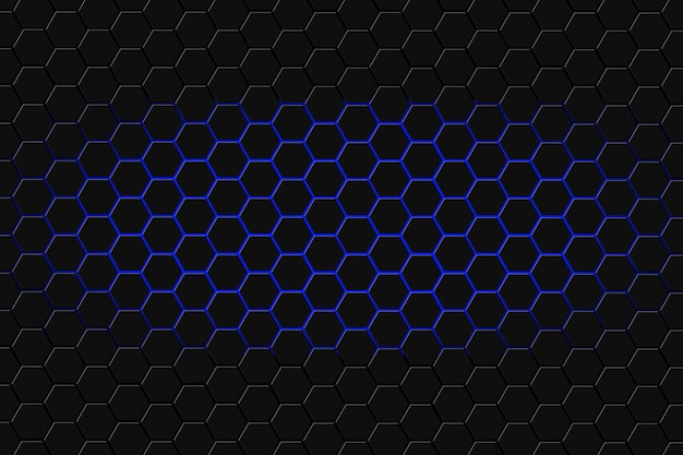 Rendição 3d abstrata da superfície futurista com hexágonos. fundo azul de ficção científica.