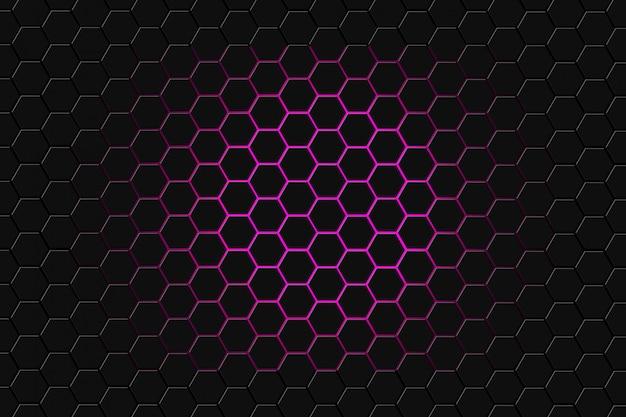 Rendição 3d abstrata da superfície futurista com hexágonos. fundo roxo escuro da ficção científica.